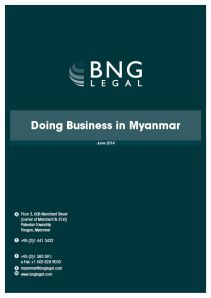 Doing Business in Myanmar Cover